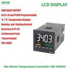 Contrôleur de température, Din 48mm, sortie SSR K J Pt100, PID, contrôleur de température AC100-240V avec 1 sortie d'alarme, livraison gratuite