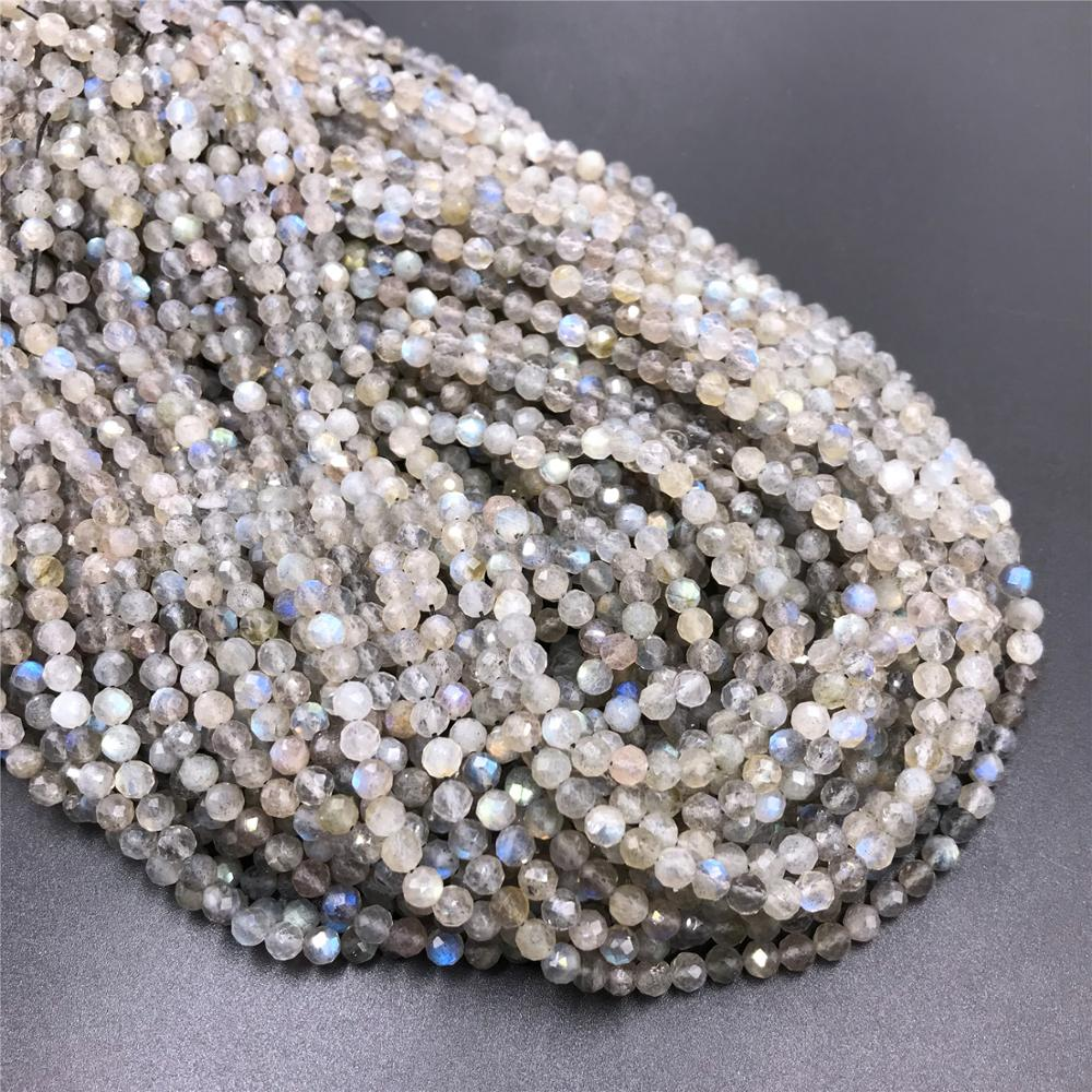 <font><b>Natural</b></font> Gem <font><b>Stone</b></font> Labradorite <font><b>Beads</b></font> 2-4mm Micro Faceted Round Loose Spacer <font><b>Beads</b></font> for DIY Necklace Bracelet Accessries Wholesale image