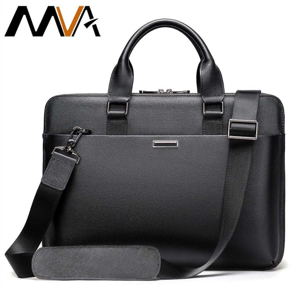 MVA Mens Bags Genuine Leather Men Briefcase Bag Business Leather Laptop Bag Shoulder Fashion Office Handbag 13.3
