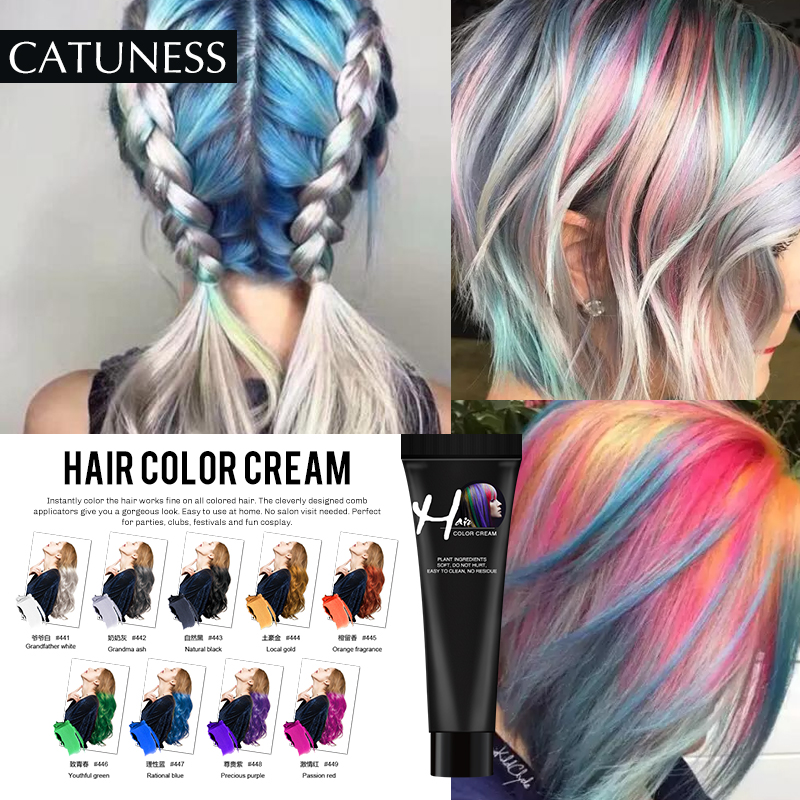 Catuness  13 Colors One-time Hair Color Gray White Purple Hair Dye Temporary Non-toxic DIY Hair Color Mascara Dye Cream