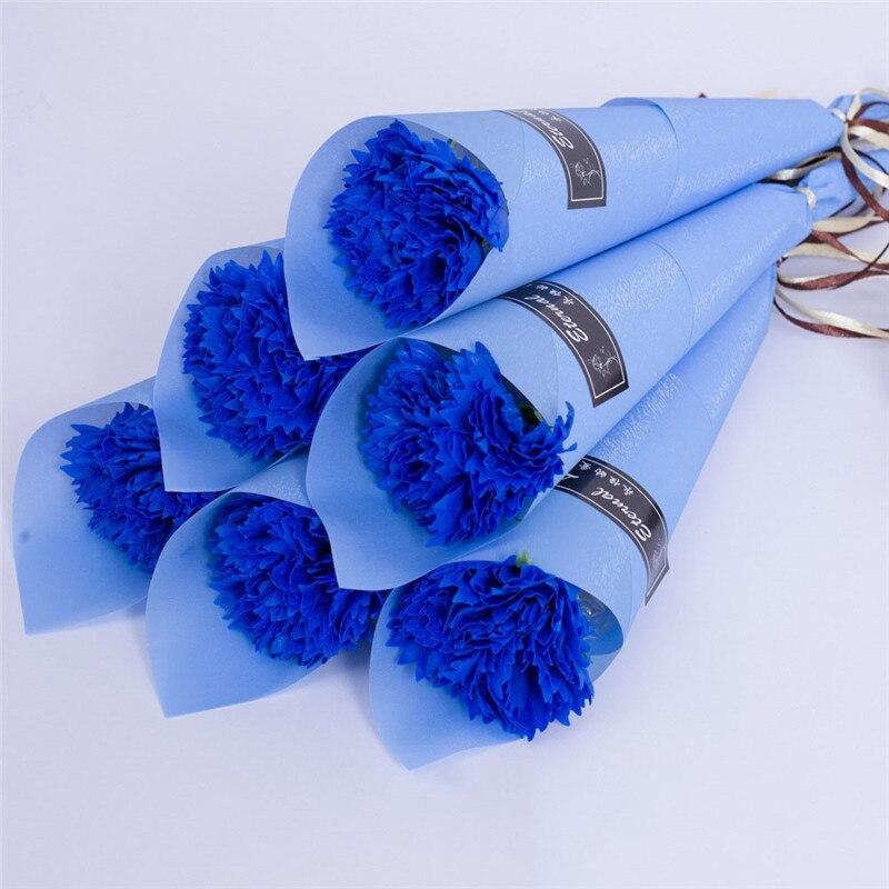 Мыло цветок розы искусственный цветок букет многоцветная Роза свадебный цветок украшение Скрапбукинг искусственный цветок Роза - Цвет: blue 1pc