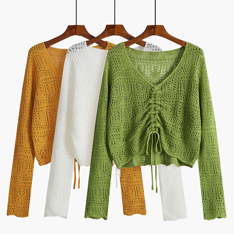 Autumn Bow Drawstring Knitted Blouse Sunscreen Tops Thin Solid Sexy Hollow Out Blouse Long Sleeve Green Top