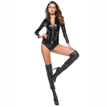 Sexy Linger Latex Bodysuit Faux Leather PVC Erotic Double Zipper Latex Catsuit Leotard Costumes Sleeveless Sex Suit Jumpsuit
