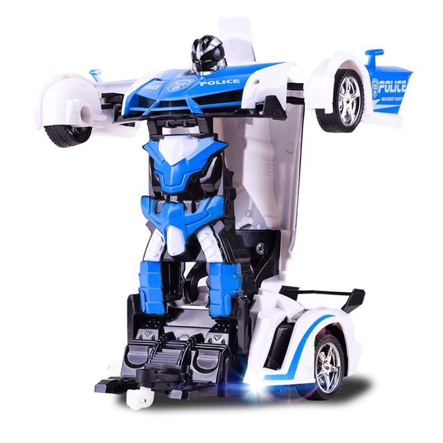 RC Car Transformation Robots Sports Vehicle Model Robots Police Car Toys Cool Deformation Car Kids Toys Gifts For Boys 5