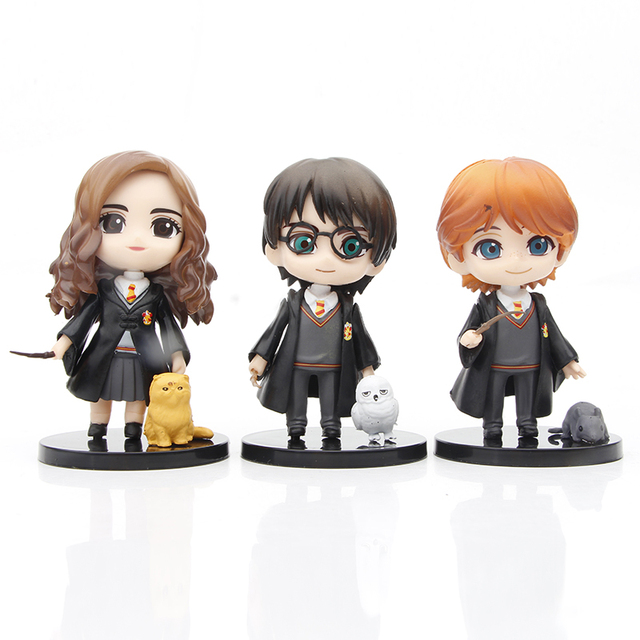 3pcs/set Q Posket Harried Model Anime Potters Action Figure Toys PVC Collectible Doll Hermione Ron Hedwig Movie Kids Cute Gifts 1