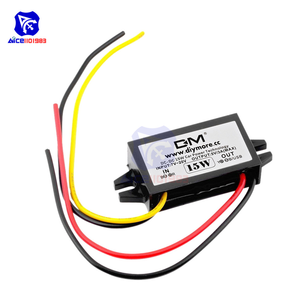Diymore DC/DC Buck Converter Regulator 12V To 5V 3A 15W Car Monitor Step Down Power Supply Module