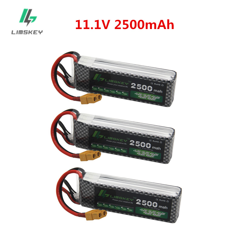 3PCS/lot 3S 11.1v 2500mAh 35C LiPo Battery XT60/T/JST/EC5 Plug For RC Car Airplane Helicopter 11.1v Rechargeable Lipo Battery 3s
