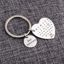 Personalized Calendar Key chain – Heart shape key chain – for Anniversary, Birthday, Valentines Gifts