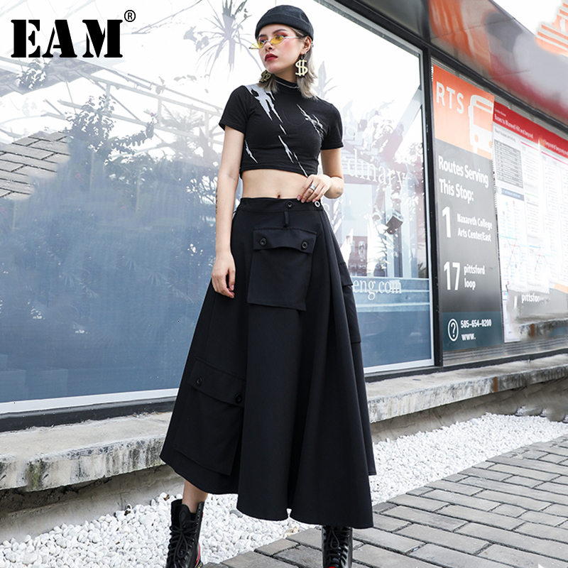 [EAM] High Elastic Waist Black Asymmetrical Pocket Temperament Half-body Skirt Women Fashion Tide New Spring Autumn 2020 1H317