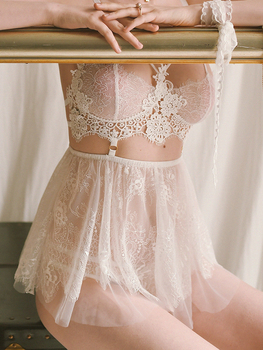 Sexy Lingerie Female Winter Water Soluble Floating Flower Eyelash Lace Perspective Temptation Sling Nightgown Sleepwear 4