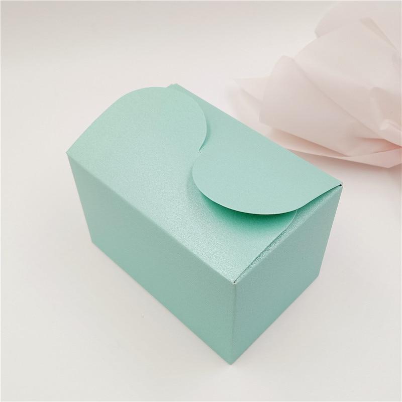 200 Pcs/Lot 9x6x6cm coloré doux Banquet mariage papier boîte cuboïde S forme Design bonbons cadeau Portable cas anniversaire fêtes