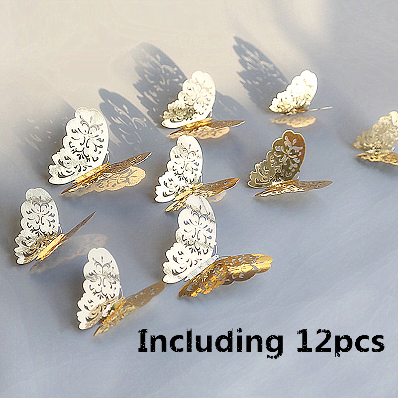 12pcs 3D Hollow Butterfly Wall Sticker For Home Decor DIY Butterflies Fridge Stickers For Kids Room Decoration Party Decor