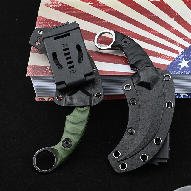 Karambit D2 Steel Fixed Blade Knife CS GO Outdoor Camping Survival Hunting Pocket Knives Tactical Military Self Defense Weapons 4