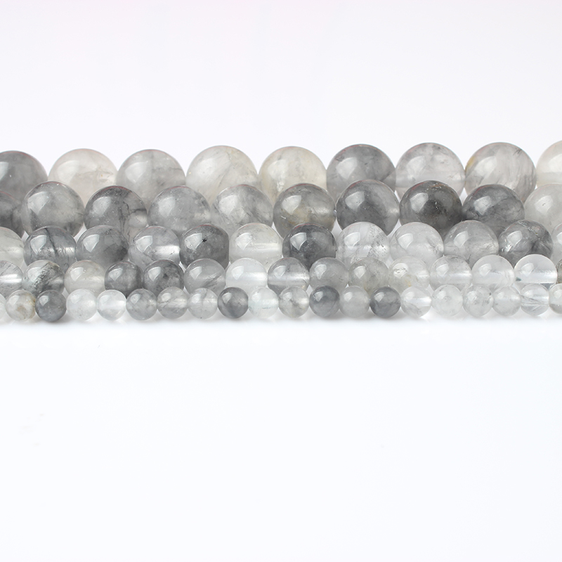 LanLi 6/8/10/12mm Fashion Natural Jewelry Grey Cloud Crystal Stones Beads DIY Men And Women Bracelet Necklace Accessories