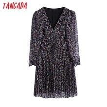 Tangada Women Floral Print Pleated Chiffon Dress Back Zipper Female Long Sleeve Casual Female Short Vestidos BE195