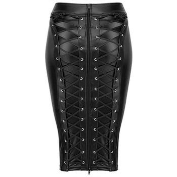 Womens Knee Length Wet Look Plus Size Black PU Leather Skirt 2019 Back Lace Up Zipper Bandage Bodycon Faux Leather Skirts Ladies black leather look lace up ladies heeled sandals