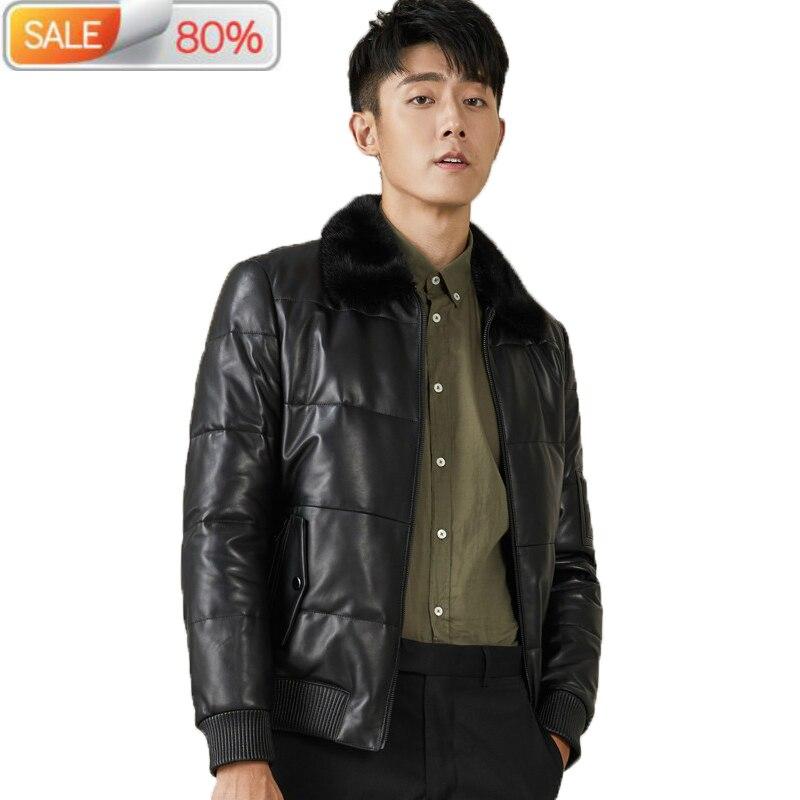 Genuine Sheepskin Leather Jacket Men Mink Fur Collar Autumn Winter Down Coat Mix Geora MG-07-1611 B21299