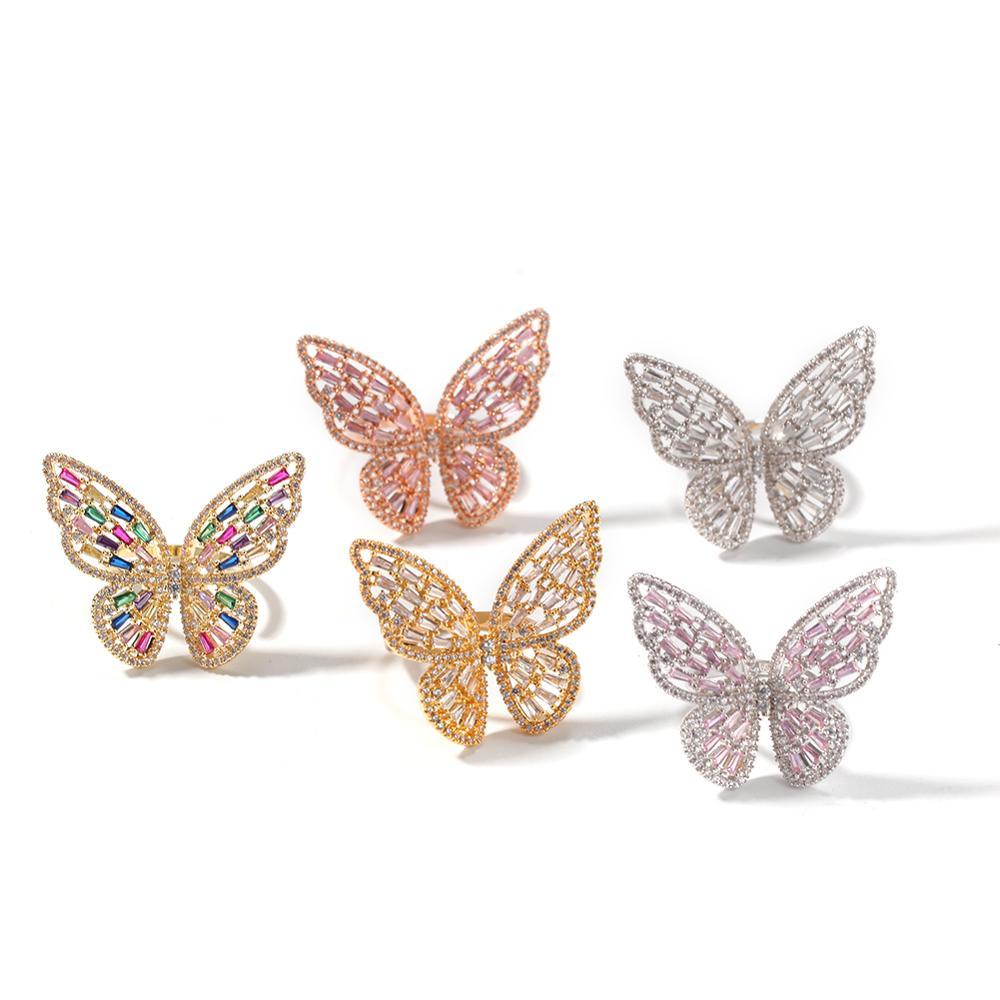 Bague papillon en or rose zircon incrusté de micro creux bague à index réglable exagérée de mode féminine