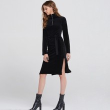 Simple Black Joker High Neck Zip Lace Side Split Velvet Long Sleeve Dress 2019 Zippers O-Neck Black Dress Women