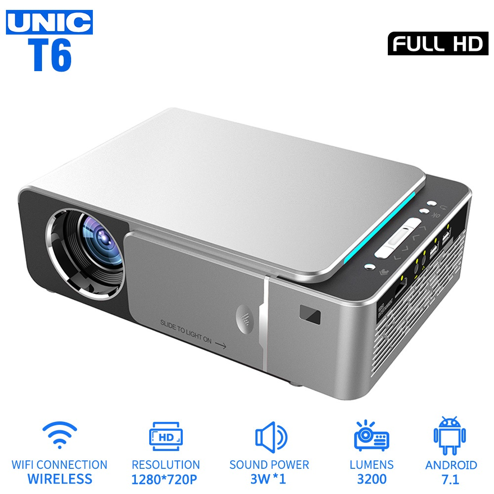 UNIC T6 LED 3200LM Projector 1080P Full HD HDMI WIFI LCD Home Theater Media Player Android Beamer Phone Sync Screen image
