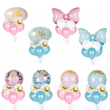 Huiran Pink Blue Baby Balloon Set 1st Birthday Party Decorations Kids Happy Birthday Balloon Baloons Boy Or Girl Gender Reveal baby shower balloons blue pink boy girl foil ballons kids gender reveal first 1st birthday party kids party decorations supplies