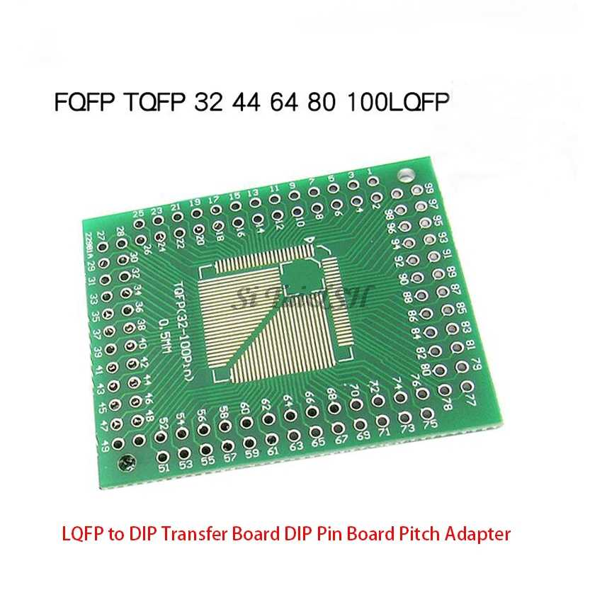 5 pces fqfp tqfp 32 44 64 80 100 lqfp para dip placa de transferência pino passo adaptador