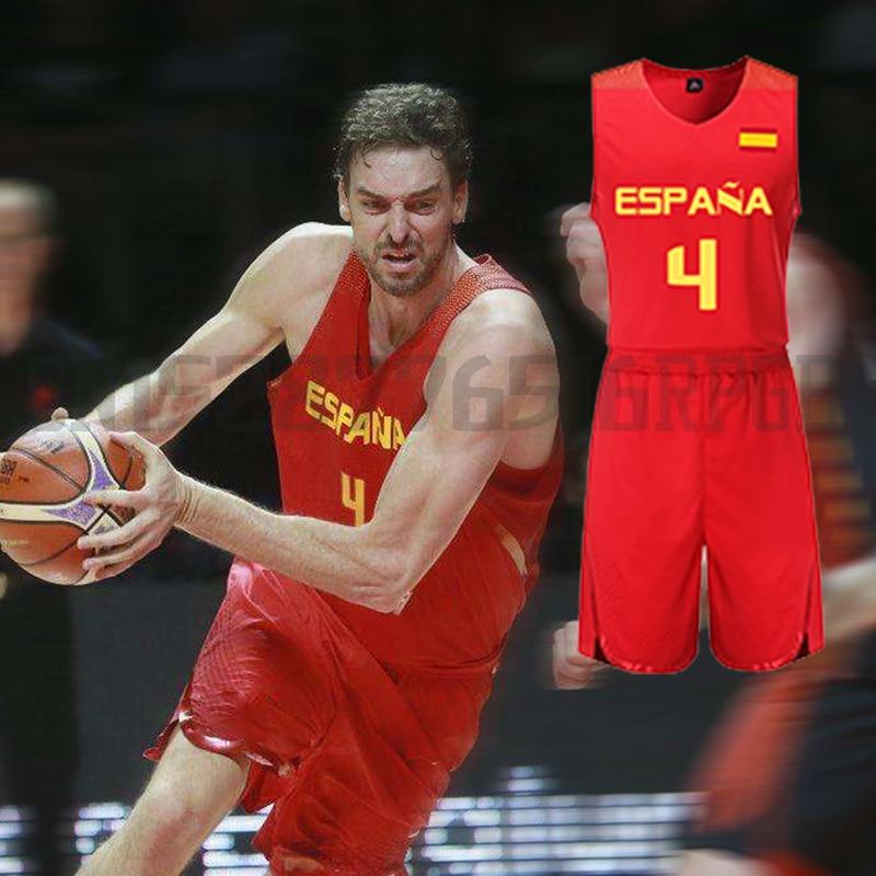 Mens Pau Gasol Jersey Throwback Basketball Jersey Suit Set Spain National Team Retro Shirts BASKET Sports JERSEYS Tank Tops Vest