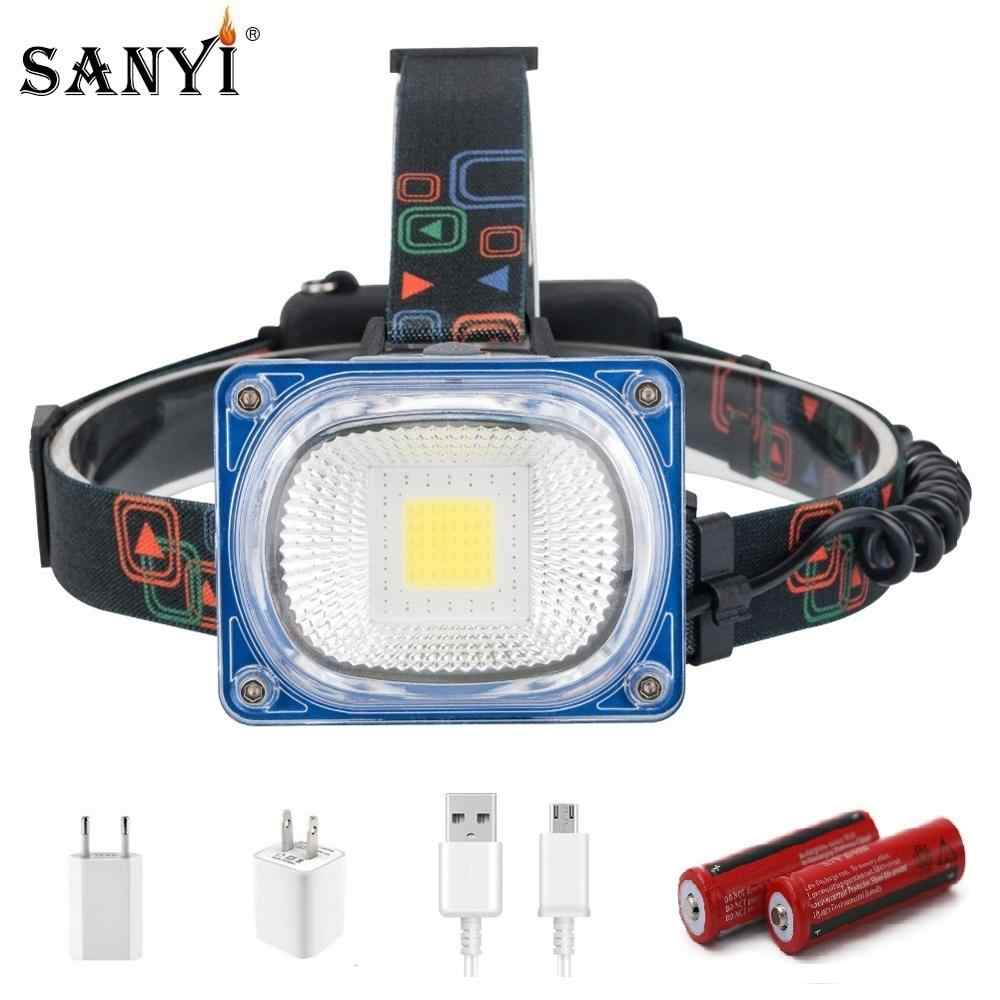 Đèn Pha LED Cao Cấp USB Sạc Đèn Âm Trần COB Góc Rộng Đầu Đèn Đèn Pin 3 Chế  Độ Đèn Lồng Cắm Trại 2X18650 phía Trước Đèn phía trước đèn