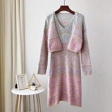 Mooirue Women Sweater Kintting 2 Piece Sets For Autumn Winter Vintage Streetwear Patchwork Harajuku Cardigan Dress