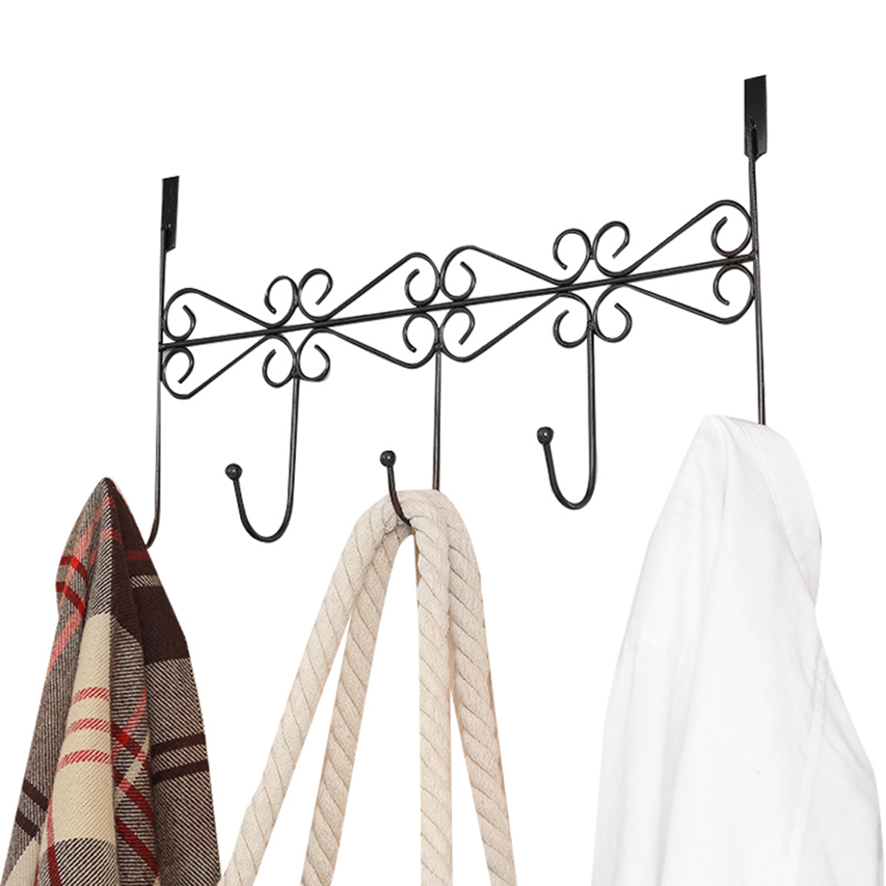 4 Hooks Over Door Hanger Rack Bathroom Kitchen Hat Towel Hanger Over Door Hanging Rack Holder