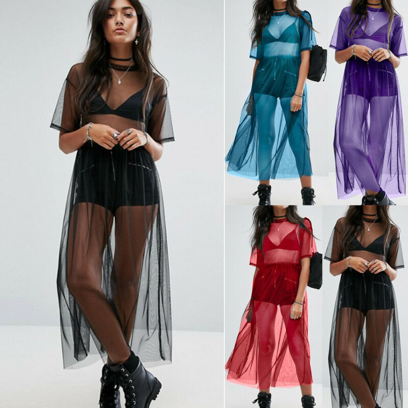 Women Mesh Sheer Net See through Short Sleeve Bikini T-Shirt Cover Up Dress Holiday Beach Swimsuit Cover Up