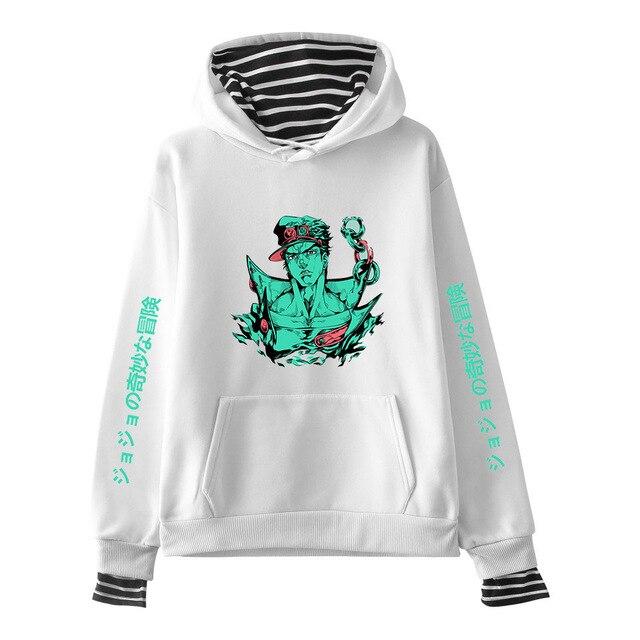 JOJO Bizarre Adventure Hoodies Women Men Fake Two Piece Hooded Sweatshirt Harajuku Streetwear Hip Hop Pullover Clothes Sudadera 2