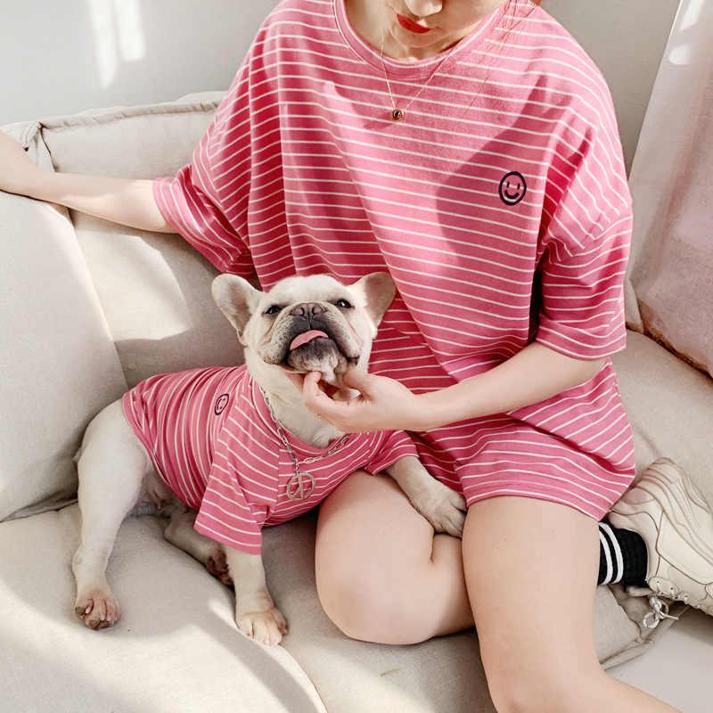Genitore-Bambino Vestiti Del Cane Corrispondenza Pet Abbigliamento Per Cani Felpe Bulldog Francese Per I Vestiti Del Cane Vestiti Camicia Cucciolo Pet abiti