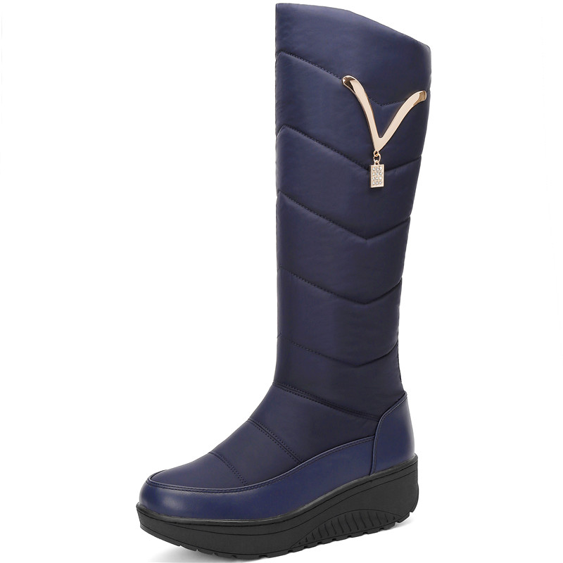 Image 2 - FEDONAS Classic Down Female Big Size Wedges Snow Boots Winter Warm Metal Women Knee High Boots Casual Shoes Woman Long Boots-in Knee-High Boots from Shoes