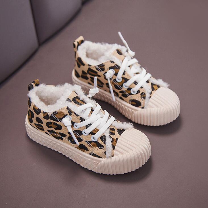Children's Warm Shoes Autumn Winter Children Shoes Boys Fur Sneakers Girls Boy Leopard Sports Shoes Size 22 33|  - title=
