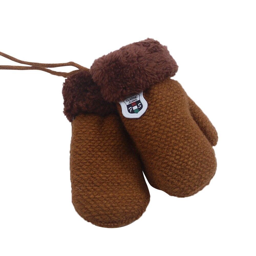 Милые кашемировые перчатки для мальчиков и девочек, зимние теплые тянущиеся вязаные варежки из толстого плюша с искусственным мехом, guantes luvas de inverno, новинка - Цвет: Brown