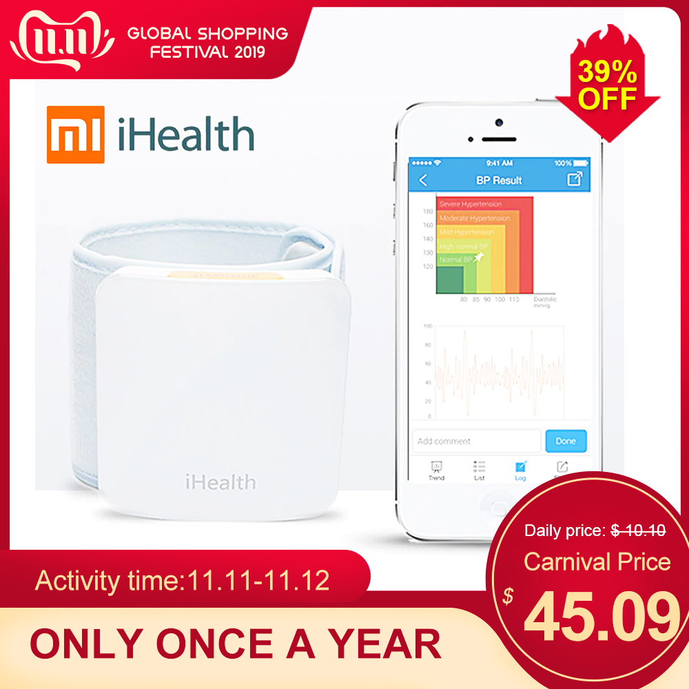 iHealth For Xiaomi Wrist Blood Pressure Monitor Smart Automatic Pulse Monitor Cuff Electric Sphygmomanometer Heart Beat Meter-in Blood Pressure from Beauty & Health