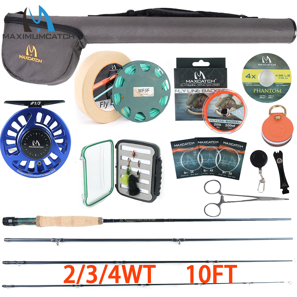 Maxcatch Performance Nymph Fly Rod Kit 2/3/4wt Complete Fishing Outfit 10FT Medium Fast Action Fly Fishing Rod Reel Line Flies|Rod Combo| |  - title=