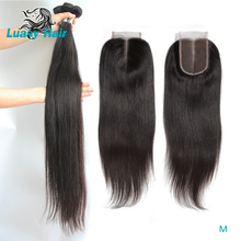 Luasy Brazilian Hair Weave Bundles With Closure Straight 100% Remy Human Hair Bundles With Lace Closure 30 32 34 36 38 40 Inches