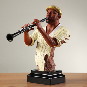 Abstract Pub Clarinet Player Bust Handmade Resin Instrumentalist Statue Musician 3