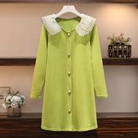 L 4XL Plus Size Women Green Knitted Dress Autumn 2019 Cute Polka Dot Peter Pant Collar Long Sleeve Pearl Button Sweater Dresses