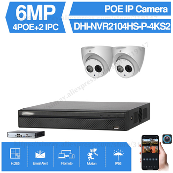 Dahua 4MP 4+2/4 Security Camera System 6MP IP Camera IPC-HDW4631C-A 8CH POE NVR2104HS-P-4KS2 Surveillance P2P System Remote View