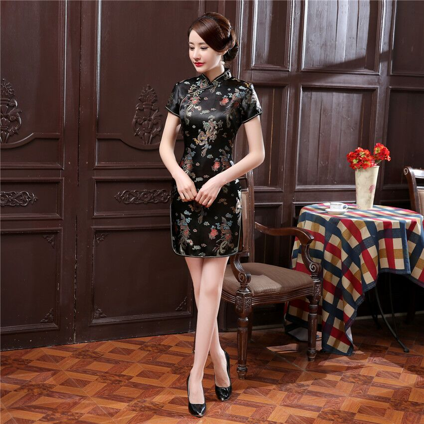 Sexy Slim Lady Cheongsam Black Vintage Formal Party Dress Chinese Style Mandarin Colloar Large Size 3XL-6XL Qipao Vestidos