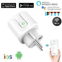 10A/16A ЕС wifi умная вилка с монитором питания, wifi Беспроводная умная розетка с Google Home Alexa Голосовое управление