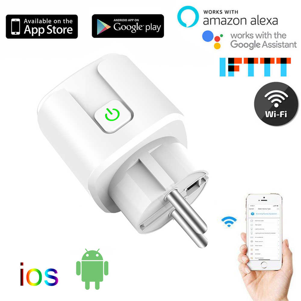 10A/16A EU wifi Smart Plug with Power Monitor, wifi wireless Smart Socket Outlet with Google Home Alexa Voice Control