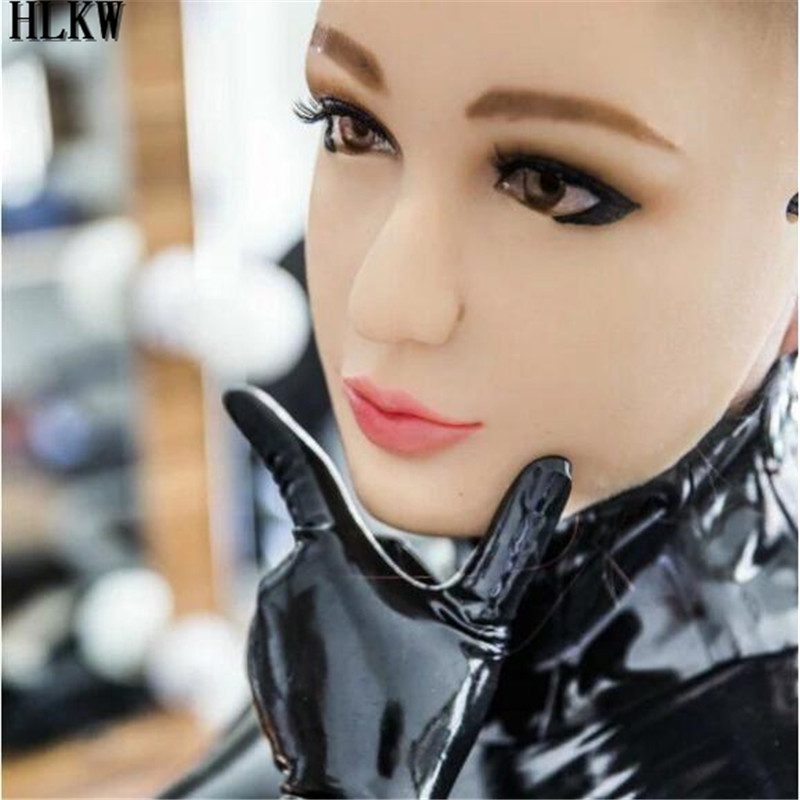 Sexy Latex Realistic Female Mask Latex Sunscreen Mask Sexy Women Skin Masquerade Masks Transgender Half Covered Mask Role Play