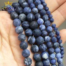 Bracelet à bricoler soi-même perles en pierre Sodalite, mates, bleues, mates, naturelles, pour la fabrication de bijoux, accessoires, 15 pouces 4/6/8/10mm