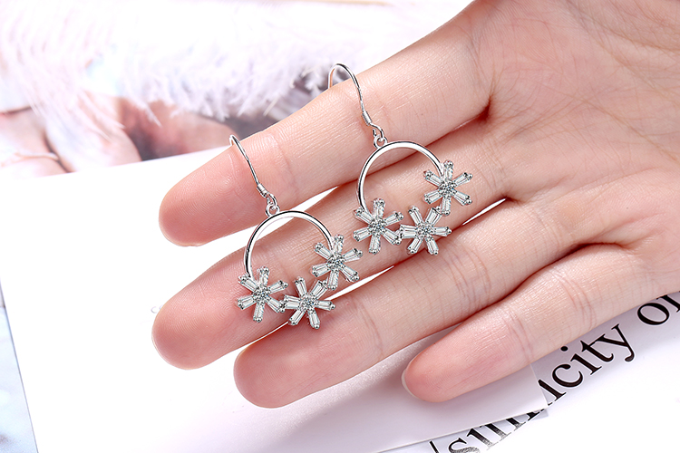 ANENJERY Literary Ice Zircon Flower Wreath 925 Sterling Silver Earrings For Women Two Colors S-E925 8