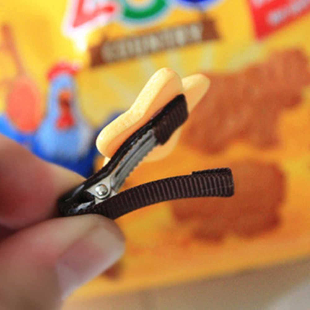 Harajuku 1 adet toka kızlar sevimli bisküvi karikatür şekli saç tokası bantlar tokalar çocuklar Hairclip saç bandı saç aksesuarları