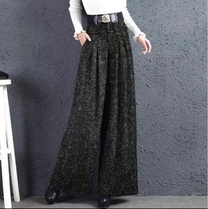 Image 5 - Palazzo pantolon sonbahar kış yeni güney kore kumaş geniş bacaklı yüksekliği düz pantolon gri kadınlar yün bacak pantolon
